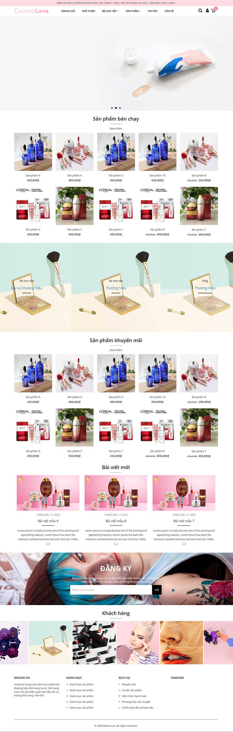Thiết kế website bán mỹ phẩm CosmoLove