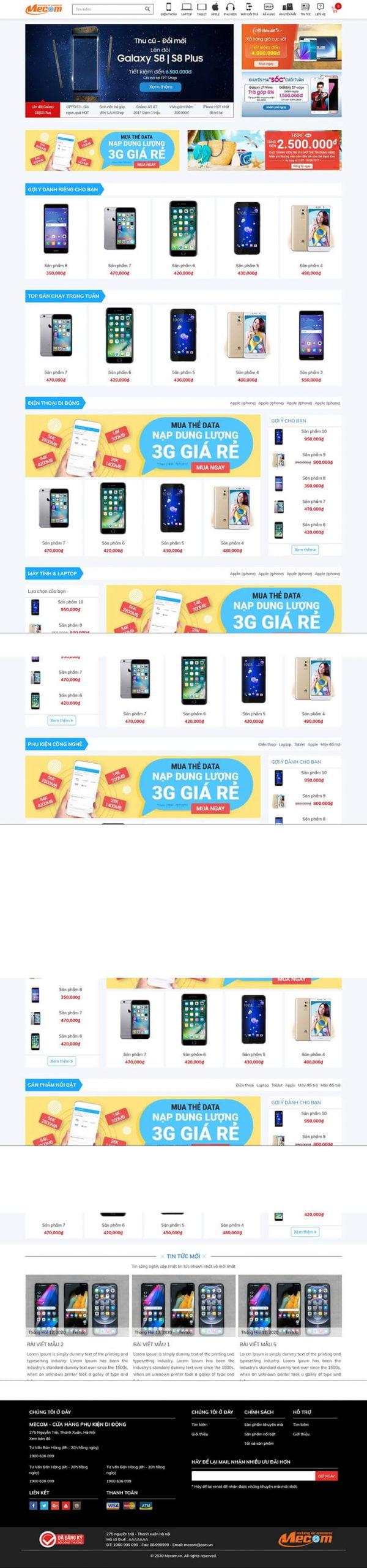 Thiết kế website bán hàng điện thoại Smobile