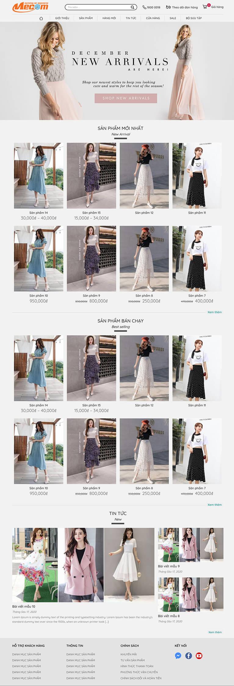 Thiết kế website thời trang Váy Xinh Xinh