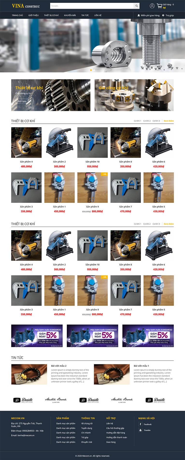 Thiết kế website cơ khí máy mọc VinaConstruc