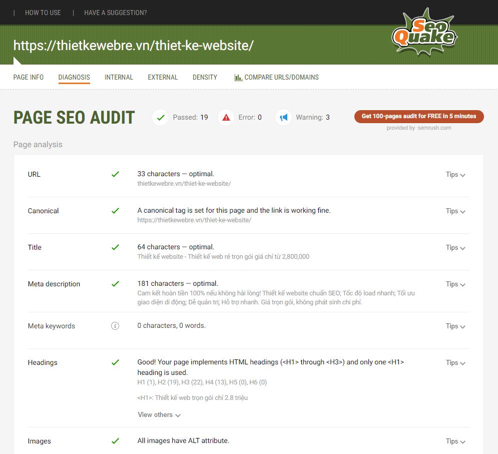 Check mức độ chuẩn SEO của trang landingpage Thiết kế website của ThietKeWebRe.vn