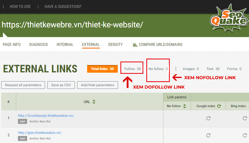 Check số link dofollow và nofollow