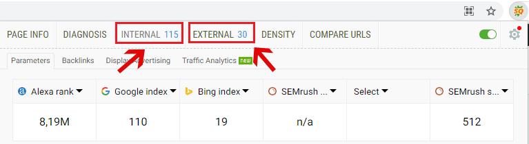 Check internal link và external link trong trang hoặc bài viết bằng SEOQuake