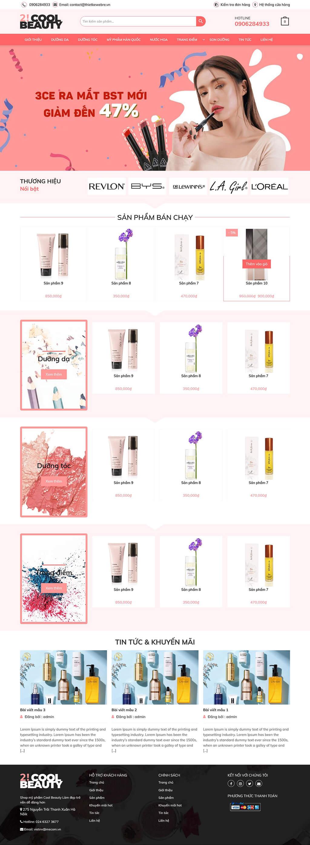 Thiết kế website bán hàng mỹ phẩm 2coolbeauty