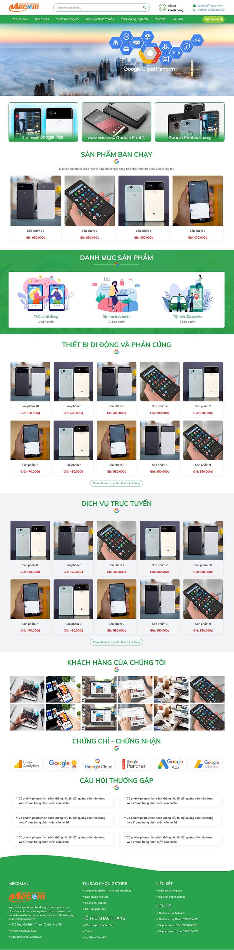 Thiết kế website bán hàng điện thoại Gstore