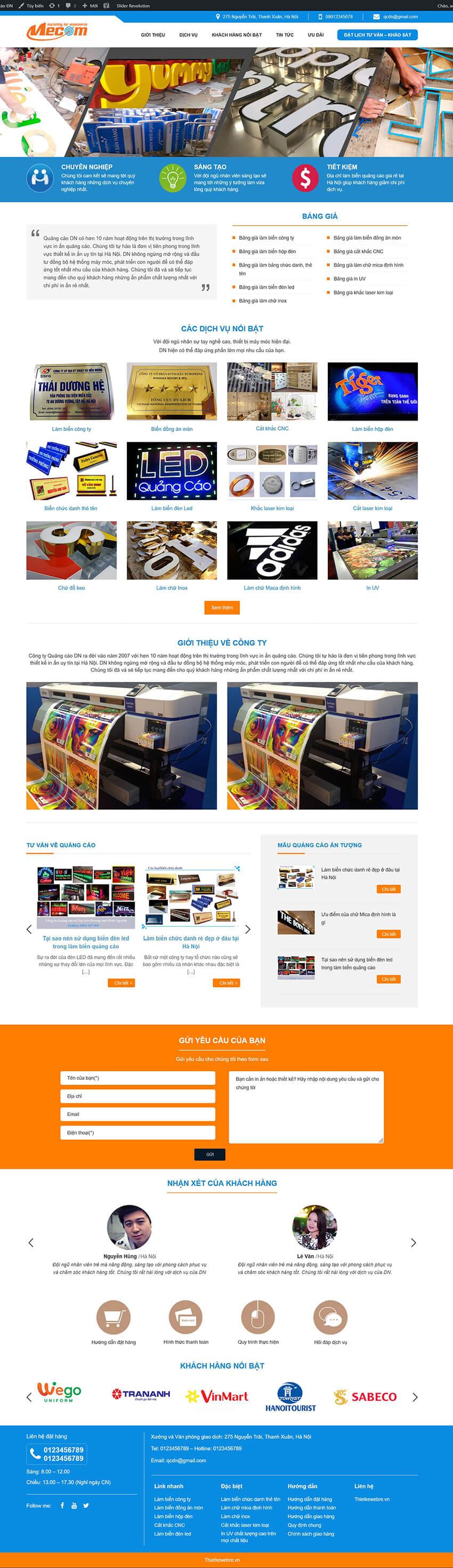 Thiết kế website ngành In ấn, Quảng cáo