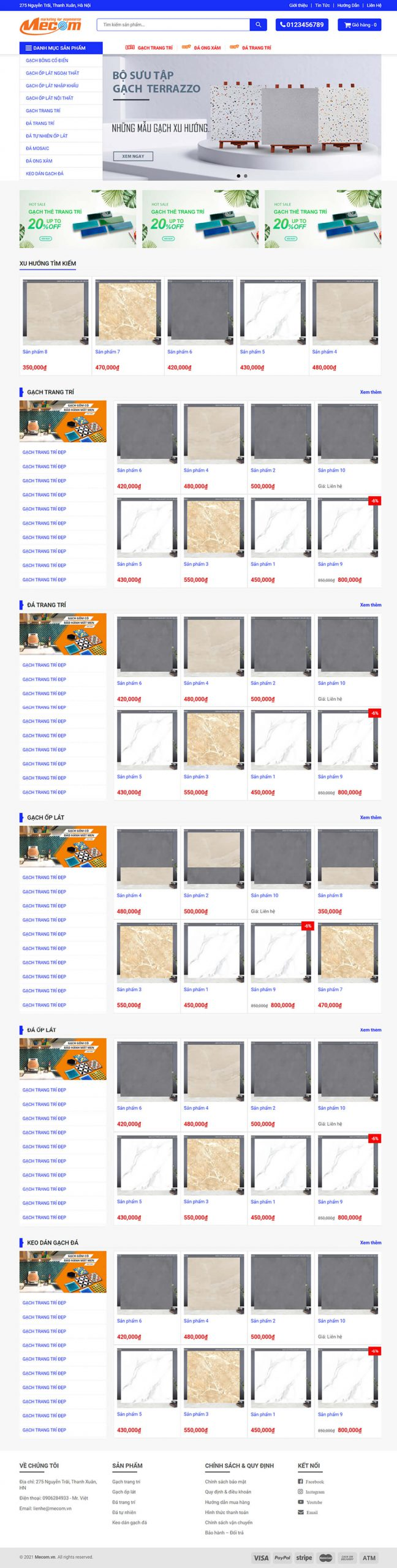 Thiết kế website vật liệu xây dựng WebVatLieu