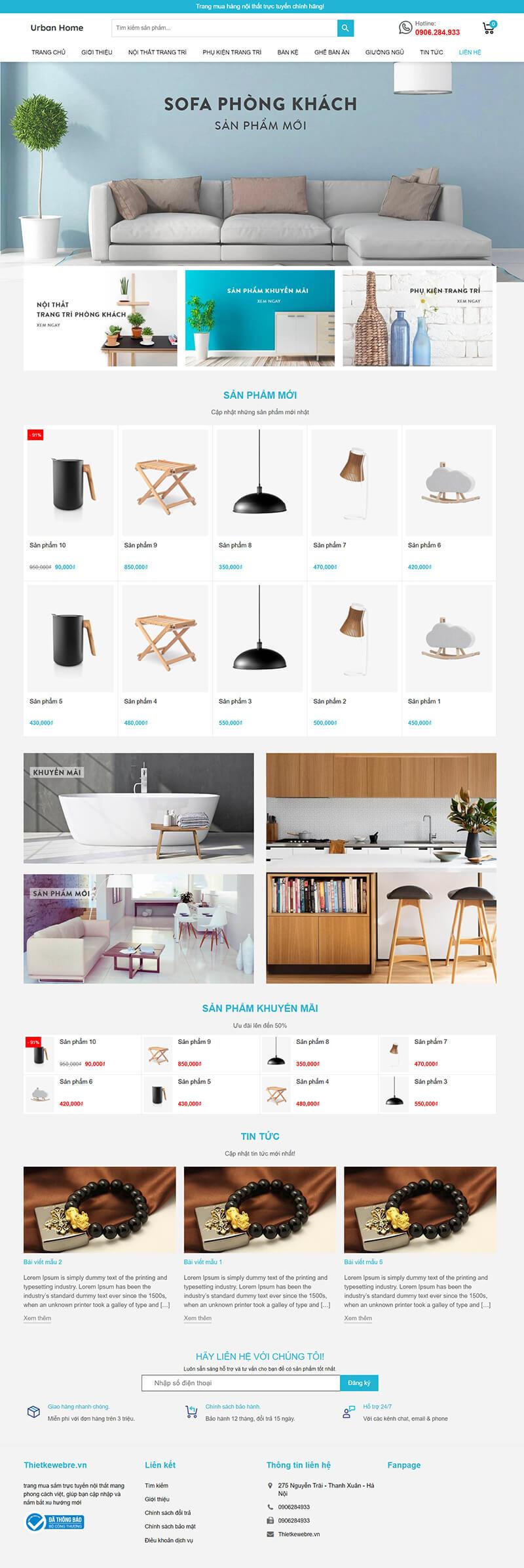 Thiết kế website nội thất Urban