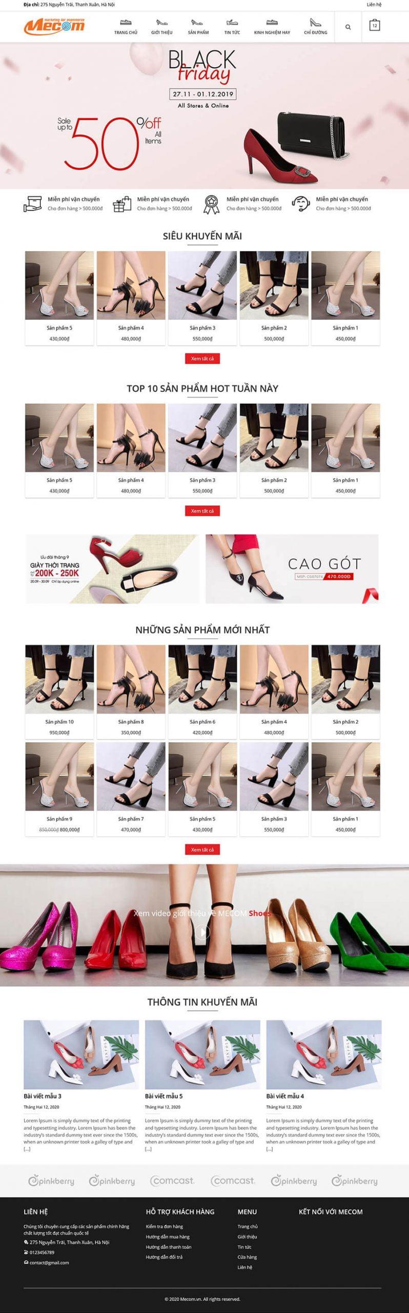 Thiết kế website bán giày, túi MShoes