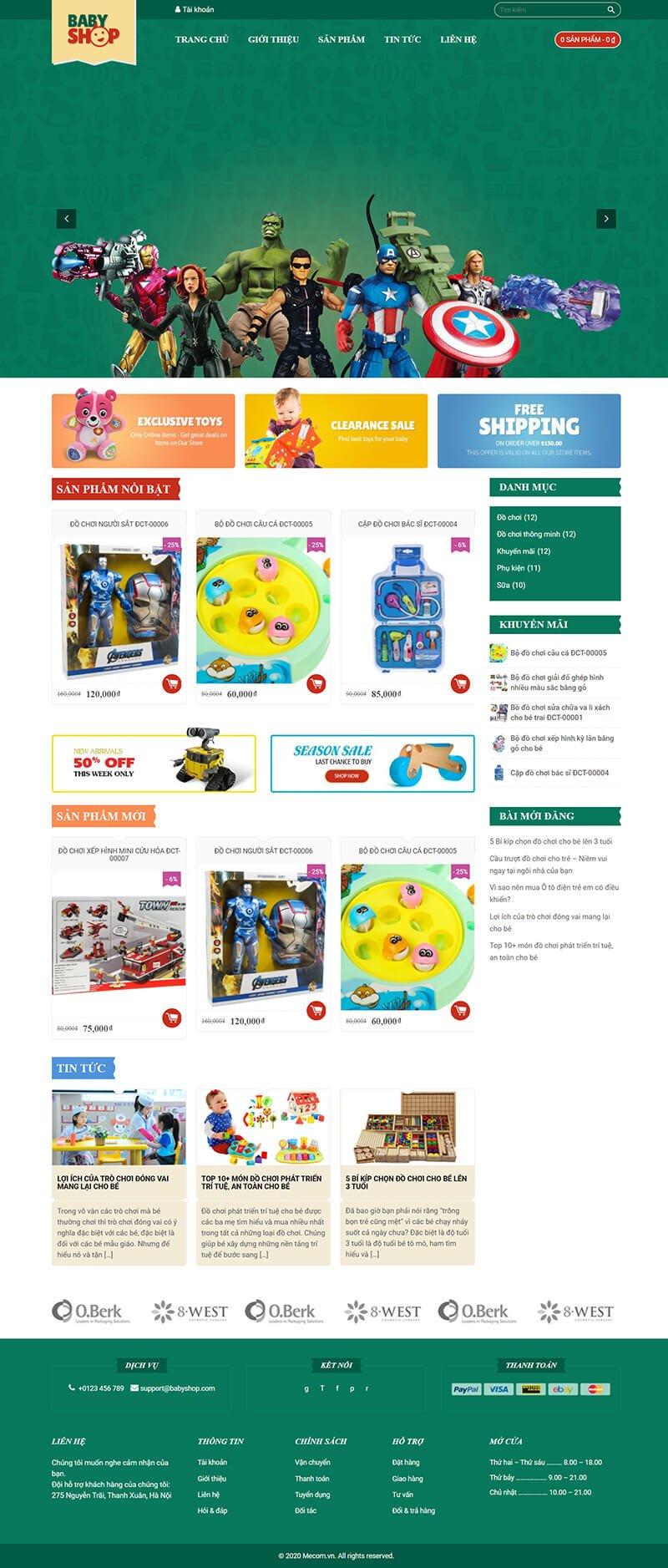Thiết kế website bán hàng đồ chơi BabyToys