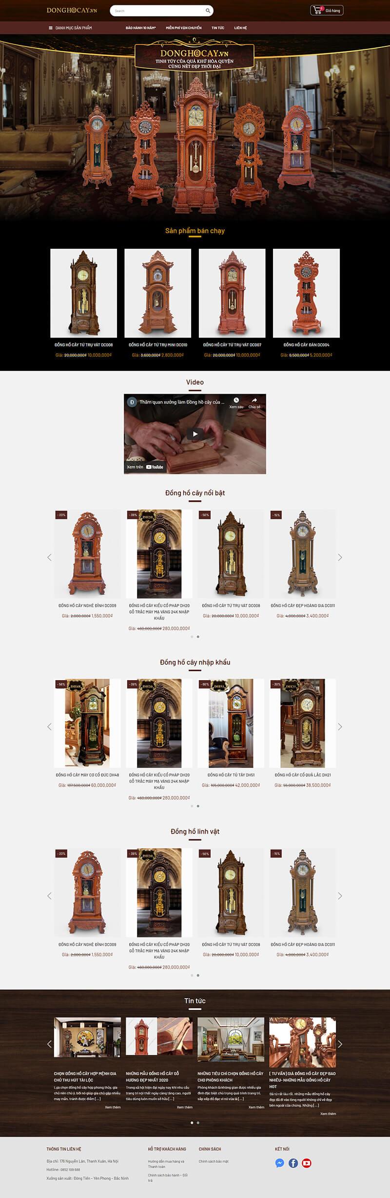 Thiết kế website nội thất bán hàng Đồng Hồ Cây