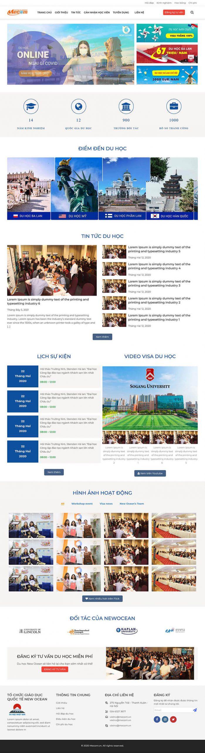 Thiết kế website du học, giáo dục NewOcean
