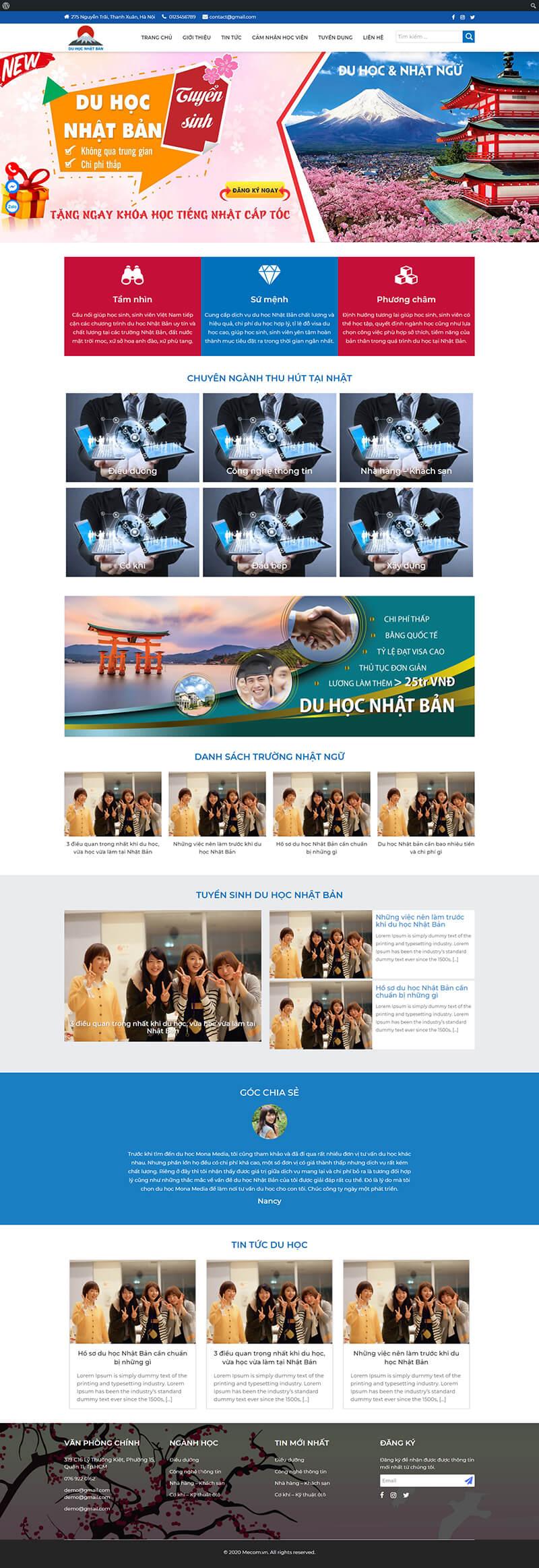 Thiết kế web du học Nhật Bản