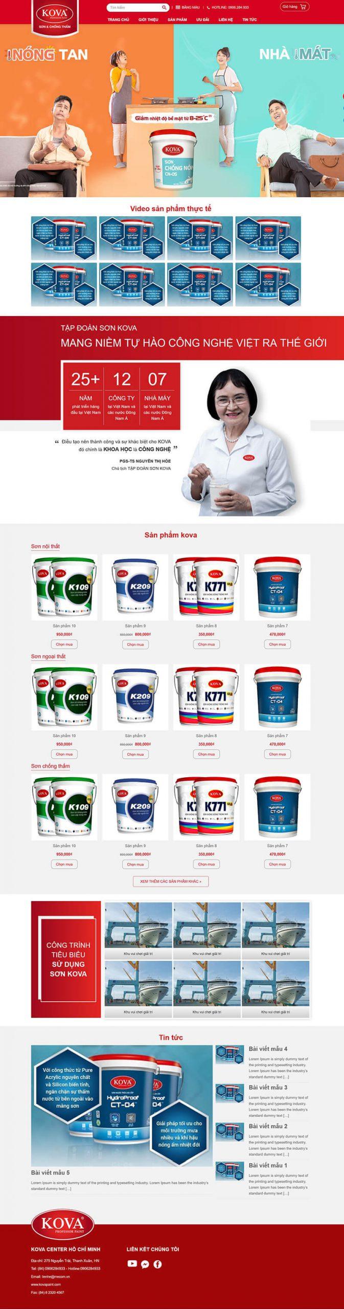 Thiết kế website báng hàng Sơn Kova