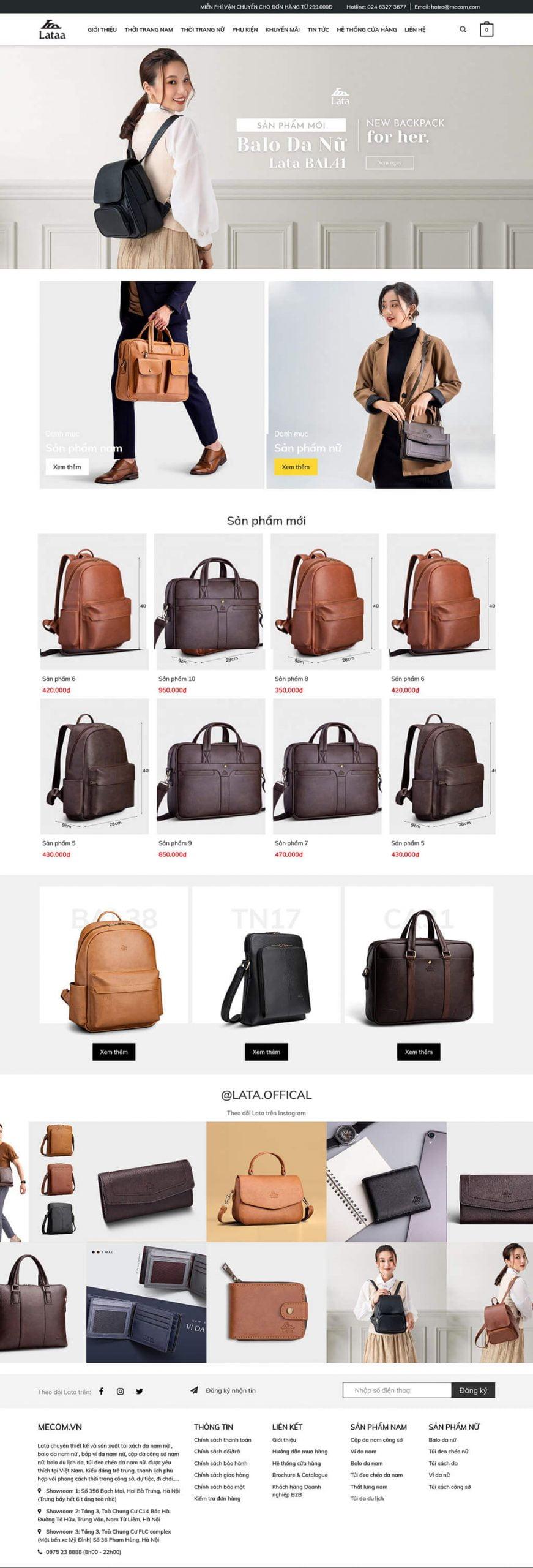 Thiết kế website thời trang, túi sách LataShop