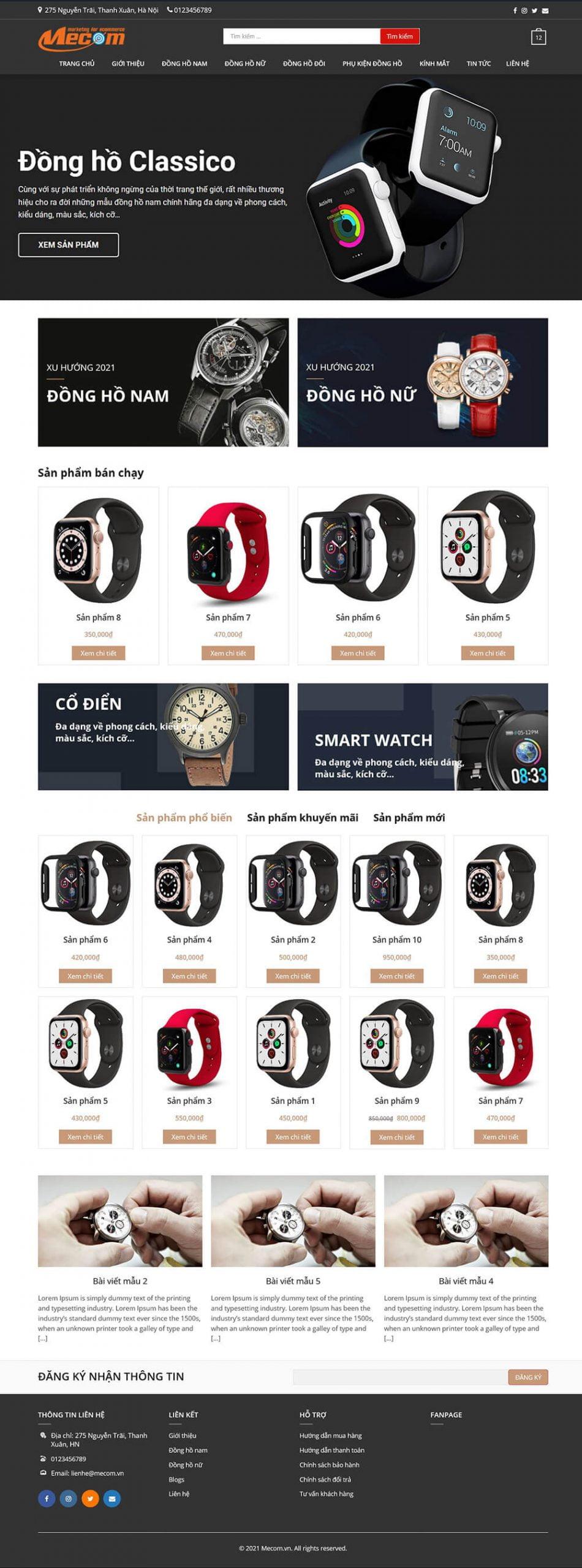 Thiết kế website bán hàng đồng hồ MWatch