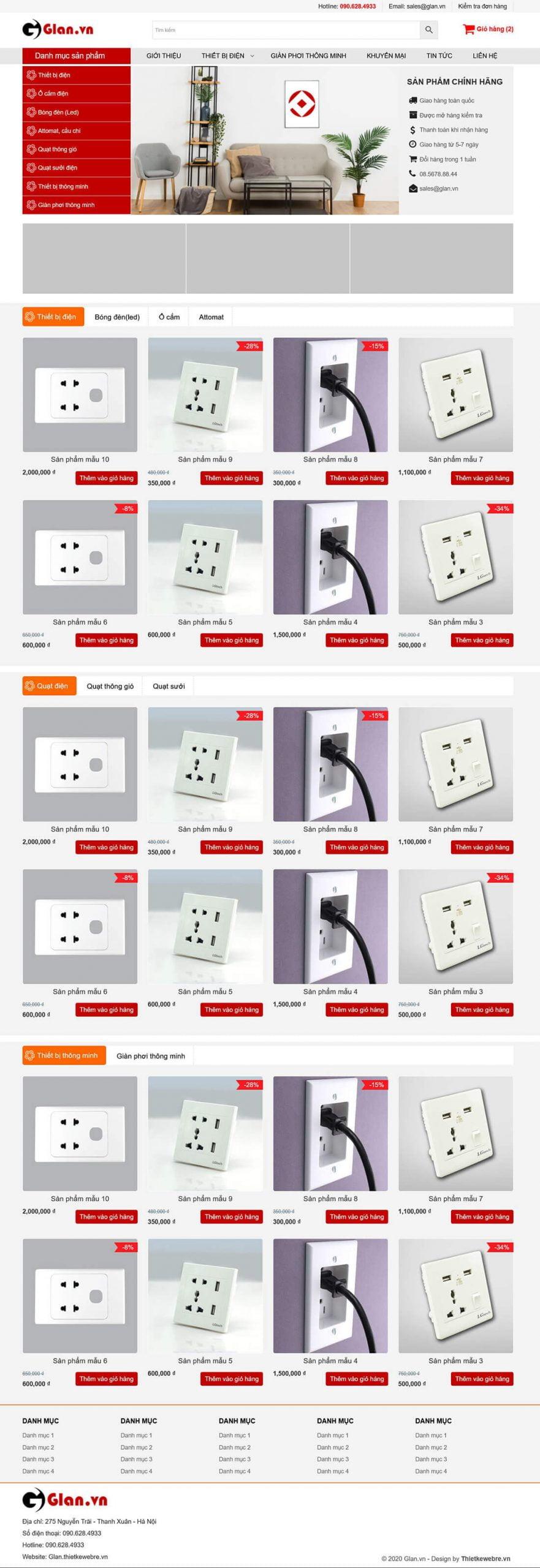 Thiết kế web thiết bị điện Glan