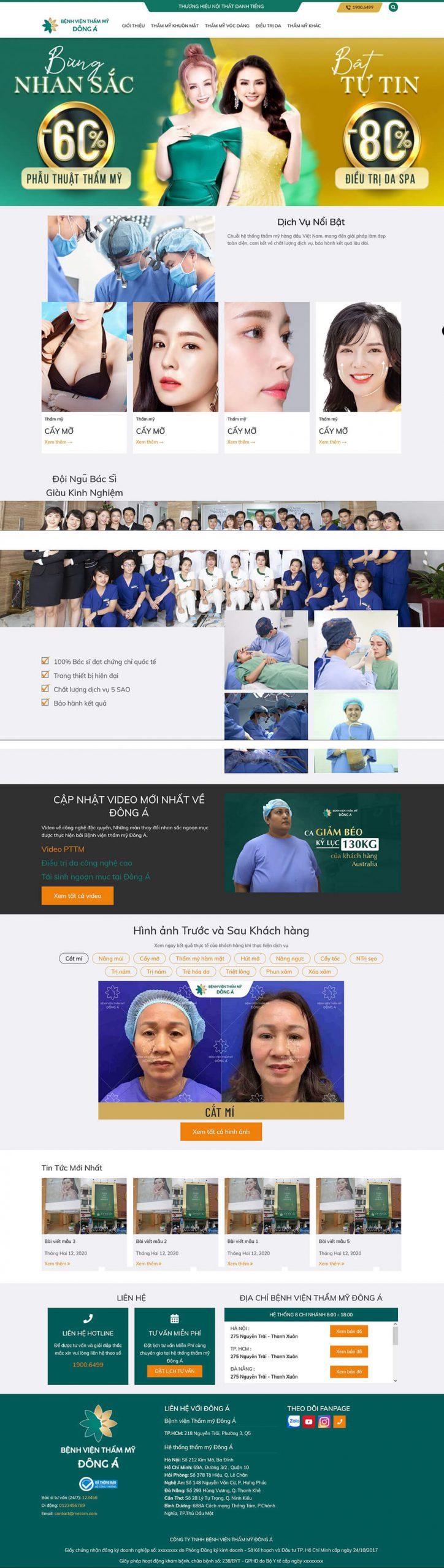 Thiết kế web thẩm mỹ viện, spa Đông Á