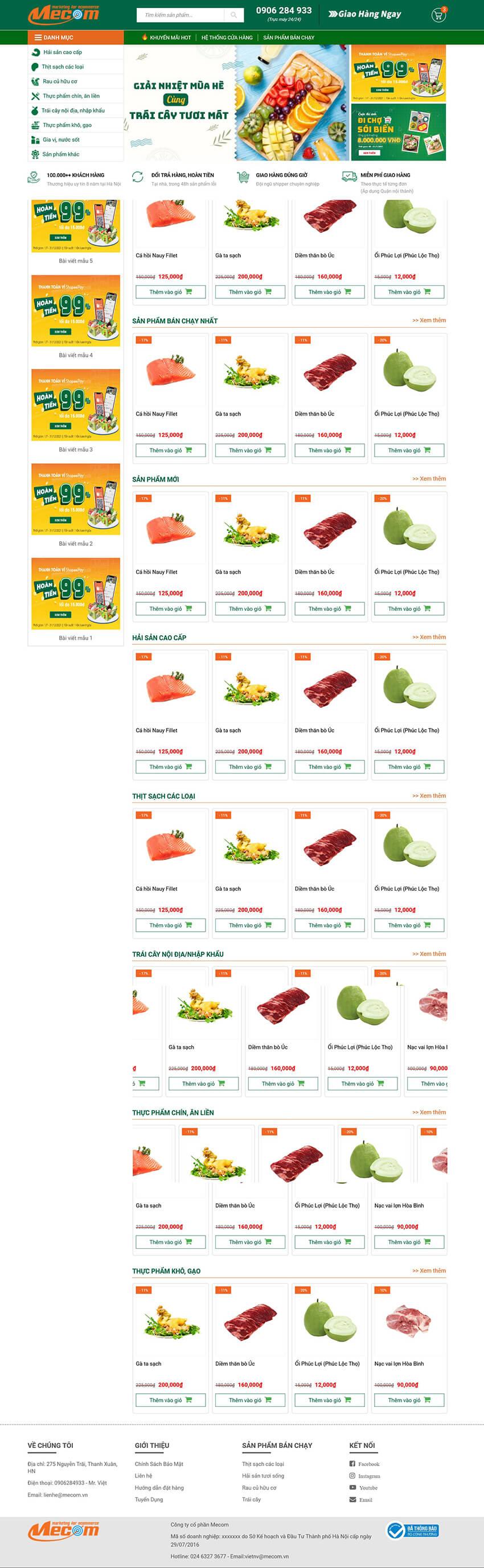 Thiết kế website bán hàng thực phẩm Sbfood