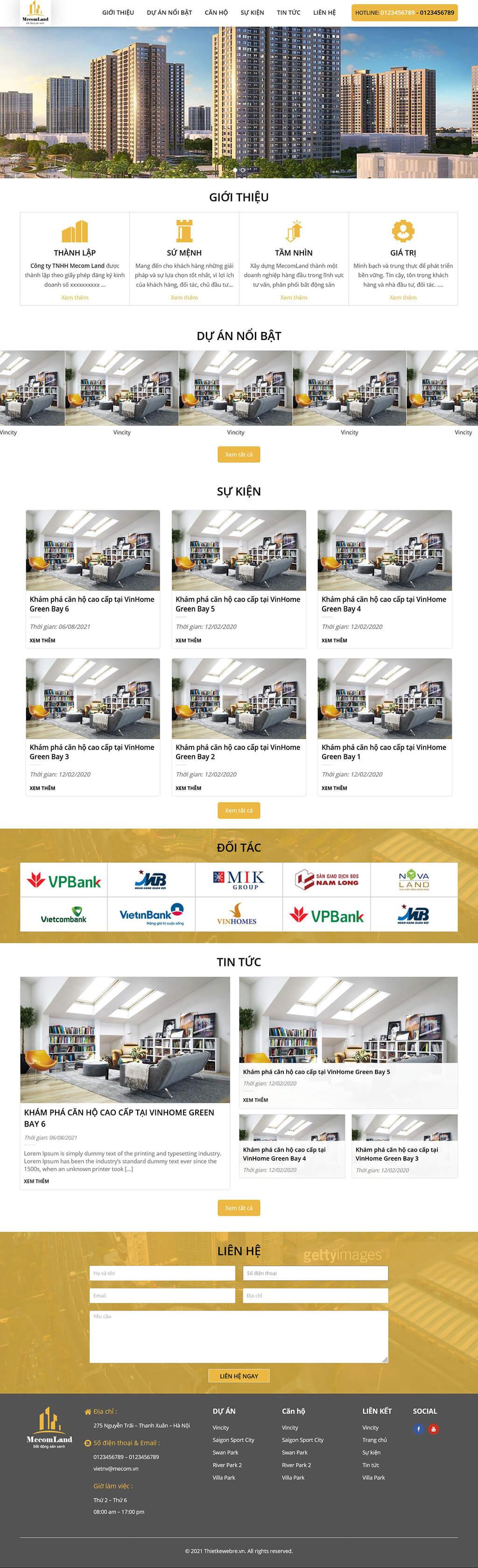 Thiết kế website bất động sản MecomLand