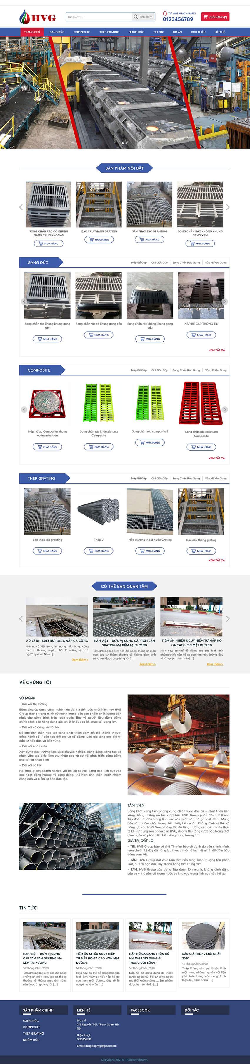 Thiết kế website doanh nghiệp cơ khí HVG