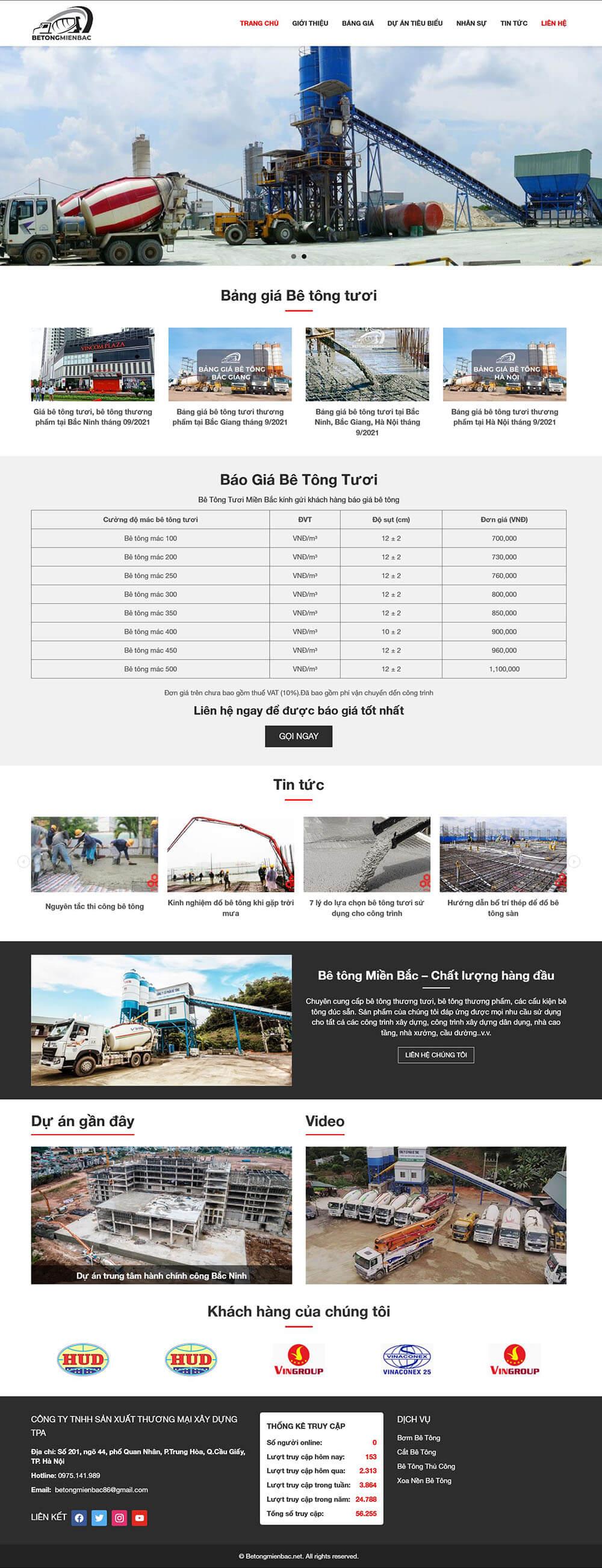 Thiết kế website doanh nghiệp bê tông MB